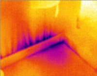 Air Infiltration at Skirting displayed in thermographic image by McClean Thermal Imaging, Co. Donegal, Ireland