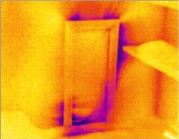 Air Infiltration on Side Attic Door displayed in thermal imaging survey by McClean Thermal Imaging, Co. Donegal, Ireland