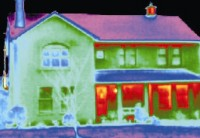 Thermal image of a home showing the areas where insulation is poor around the windows and doors -  McClean Thermal Imaging Surveys, Donegal, Ireland