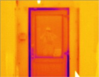 A new PVC door showing up as warped and allowing air permeability at edges -  Thermal Imaging by McClean Thermal Imaging, Co. Donegal, Ireland